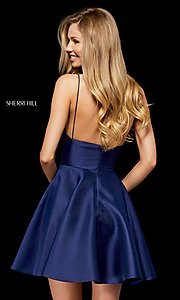 Image of short mikado homecoming dress by Sherri Hill. Style: SH-52379 Back Image