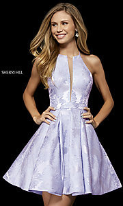 Image of high-neck fit-and-flare homecoming dress. Style: SH-52178 Detail Image 3