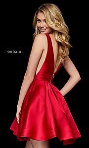 Image of Sherri Hill v-neck fit-and-flare homecoming dress. Style: SH-52179 Back Image