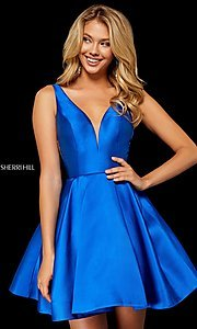 Image of Sherri Hill v-neck fit-and-flare homecoming dress. Style: SH-52179 Detail Image 1