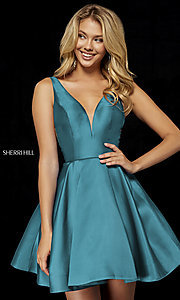 Image of Sherri Hill v-neck fit-and-flare homecoming dress. Style: SH-52179 Front Image