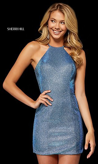 Short High-Neck Metallic Sherri Hill Hoco Dress