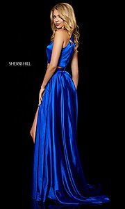 Image of long high-neck Sherri Hill two-piece prom dress. Style: SH-52230 Back Image
