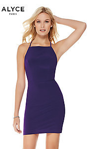 Image of open-back short high-neck homecoming dress. Style: AL-4002 Detail Image 2