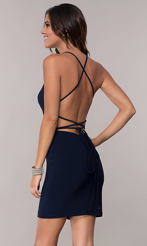 Image of open-back short high-neck homecoming dress. Style: AL-4002 Front Image