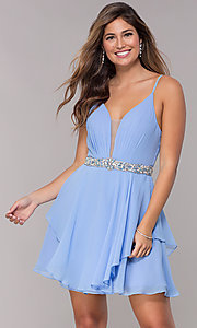 Image of v-neck Alyce homecoming dress with beaded waistband. Style: AL-A4046 Detail Image 2