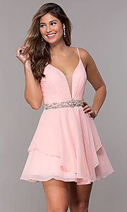 Image of v-neck Alyce homecoming dress with beaded waistband. Style: AL-A4046 Front Image