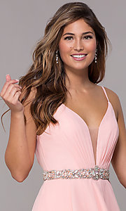 Image of v-neck Alyce homecoming dress with beaded waistband. Style: AL-A4046 Detail Image 1