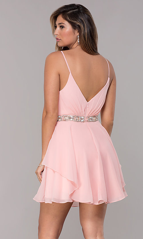 Image of v-neck Alyce homecoming dress with beaded waistband. Style: AL-A4046 Back Image