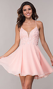 Image of open-back short chiffon Alyce homecoming party dress. Style: AL-4049 Detail Image 3
