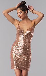 Image of short sequin Alyce homecoming dress in rose gold. Style: AL-4057 Back Image