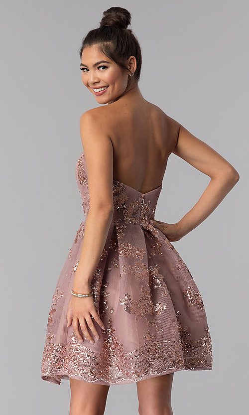 Image of short strapless sequin-mesh Alyce homecoming dress. Style: AL-A2650 Back Image
