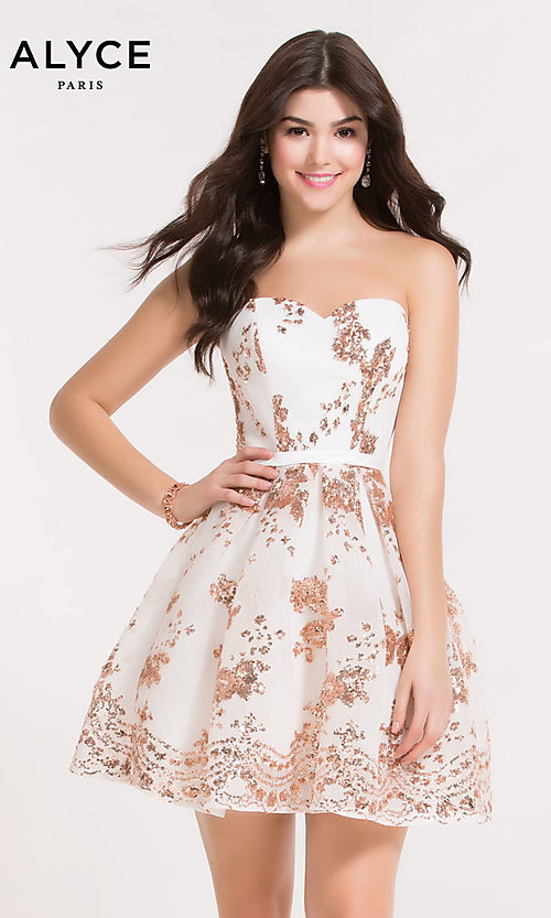 Image of short strapless sequin-mesh Alyce homecoming dress. Style: AL-A2650 Detail Image 7
