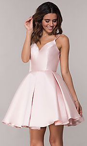 Image of double-strap v-neck Alyce short homecoming dress. Style: AL-3764 Detail Image 5