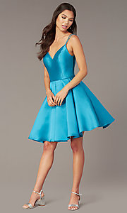Image of double-strap v-neck Alyce short homecoming dress. Style: AL-3764 Detail Image 6