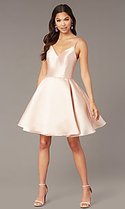 Image of double-strap v-neck Alyce short homecoming dress. Style: AL-3764 Detail Image 4
