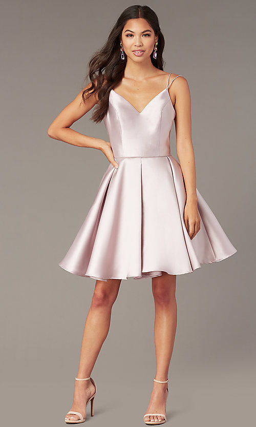 Image of double-strap v-neck Alyce short homecoming dress. Style: AL-3764 Front Image