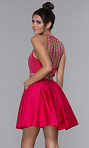 Image of satin cherry red high-neck homecoming dress. Style: MF-E2542 Back Image