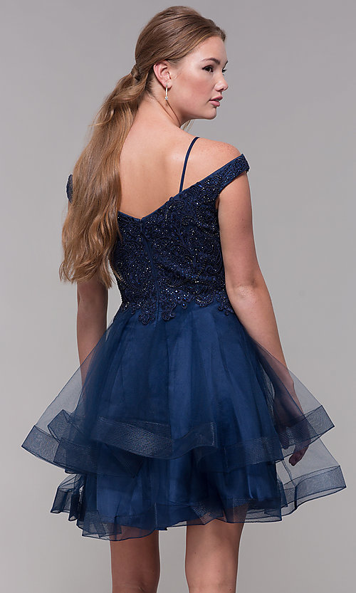 Image of tiered-tulle-skirt short homecoming dress. Style: MF-E2546 Back Image