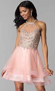 Image of short tiered-tulle-skirt homecoming dress by Blush. Style: BL-IN-472 Back Image