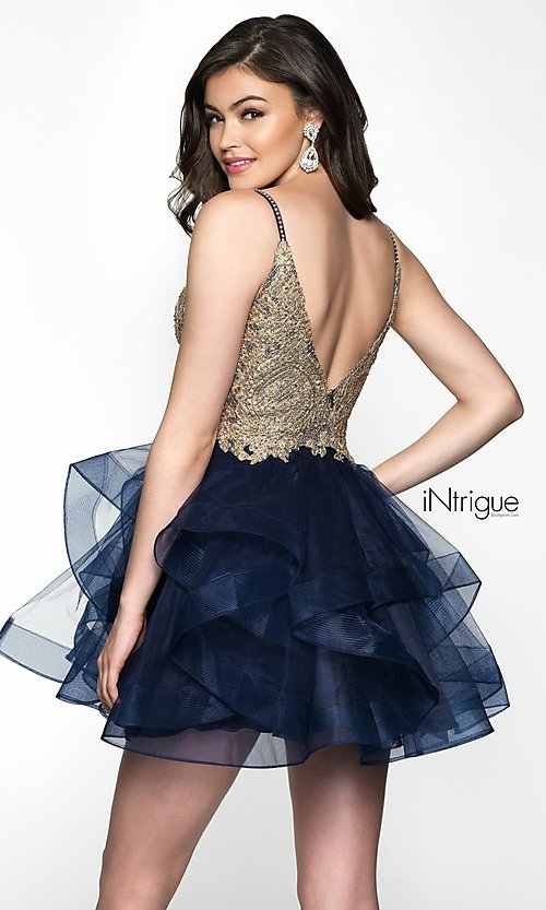 Image of sleeveless navy babydoll tulle homecoming dress. Style: BL-IN-473 Back Image