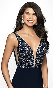 Image of short deep-v-neck homecoming dress with beads. Style: BL-IN-490 Detail Image 1