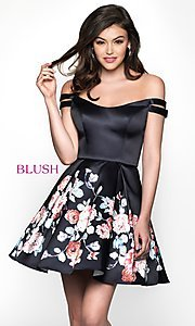 Image of floral-print off-the-shoulder homecoming dress. Style: BL-11609 Front Image