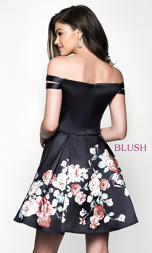 Image of floral-print off-the-shoulder homecoming dress. Style: BL-11609 Back Image