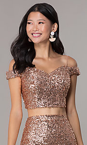 Image of short sequin off-the-shoulder homecoming dress. Style: BL-B113 Detail Image 1