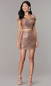 Image of short sequin off-the-shoulder homecoming dress. Style: BL-B113 Detail Image 3