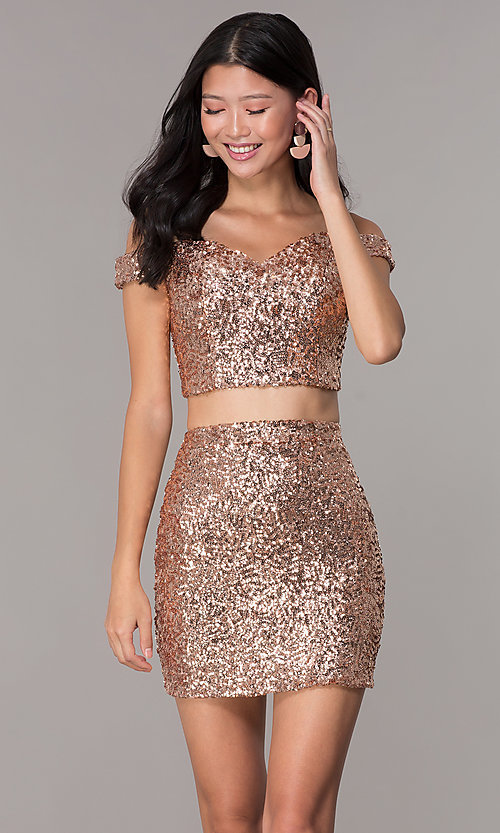 Image of short sequin off-the-shoulder homecoming dress. Style: BL-B113 Front Image