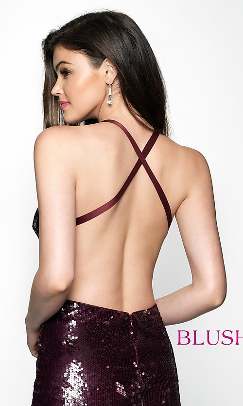 Image of sequin homecoming dress with straight neckline. Style: BL-B125 Detail Image 2