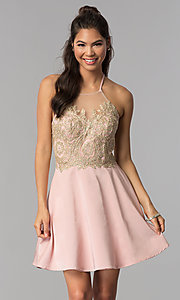 Image of short embroidered high-neck halter homecoming dress. Style: JOJ-JE-18545 Front Image