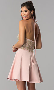Image of short embroidered high-neck halter homecoming dress. Style: JOJ-JE-18545 Back Image