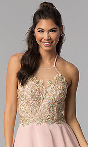 Image of short embroidered high-neck halter homecoming dress. Style: JOJ-JE-18545 Detail Image 1