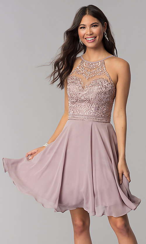 Image of high-neck hoco dress by PromGirl with embroidery. Style: DQ-PL-3008 Front Image