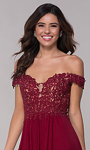 Image of off-shoulder lace-bodice Faviana homecoming dress. Style: FA-10155 Detail Image 1