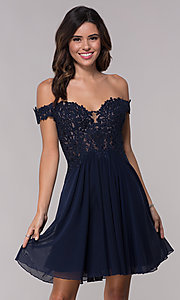 Image of off-shoulder lace-bodice Faviana homecoming dress. Style: FA-10155 Detail Image 2