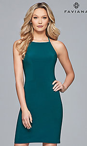 Image of short jersey homecoming dress with back straps. Style: FA-S10166 Detail Image 3