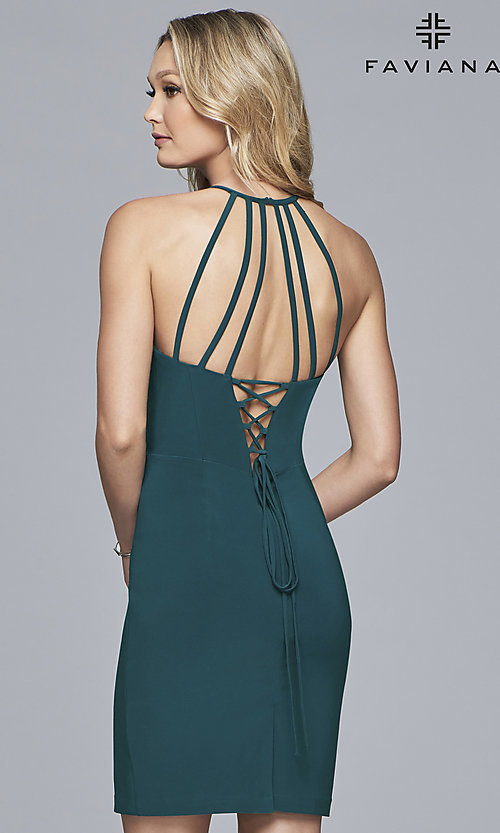 Image of short jersey homecoming dress with back straps. Style: FA-S10166 Detail Image 4