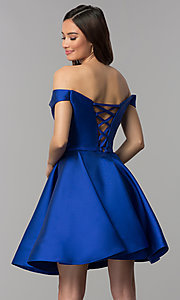 Image of short off-the-shoulder corset homecoming dress. Style: CLA-S3442 Back Image
