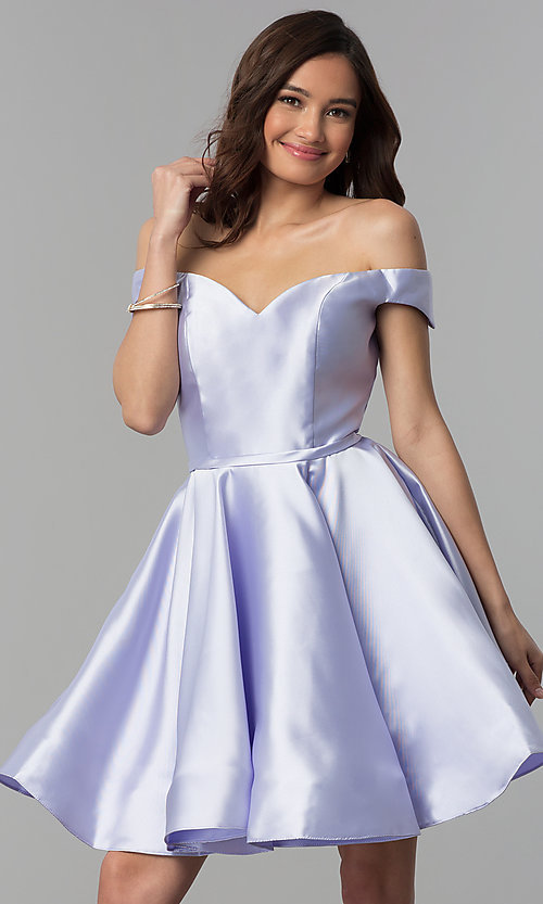 Image of short off-the-shoulder corset homecoming dress. Style: CLA-S3442 Detail Image 1