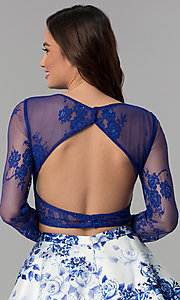 Image of short long-sleeve two-piece print homecoming dress. Style: CLA-3638 Detail Image 2