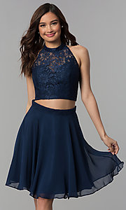 Image of short two-piece lace-top homecoming dress. Style: CLA-S3427 Front Image