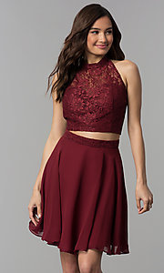 Image of short two-piece lace-top homecoming dress. Style: CLA-S3427 Detail Image 3