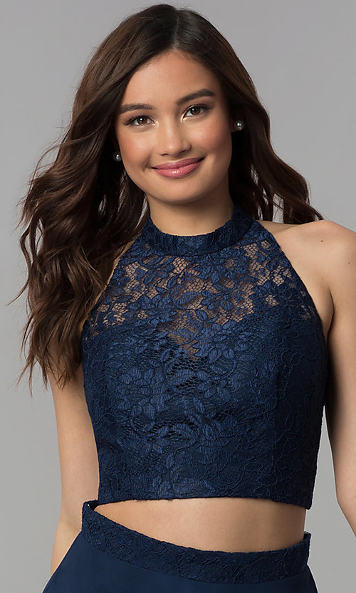 Image of short two-piece lace-top homecoming dress. Style: CLA-S3427 Detail Image 1