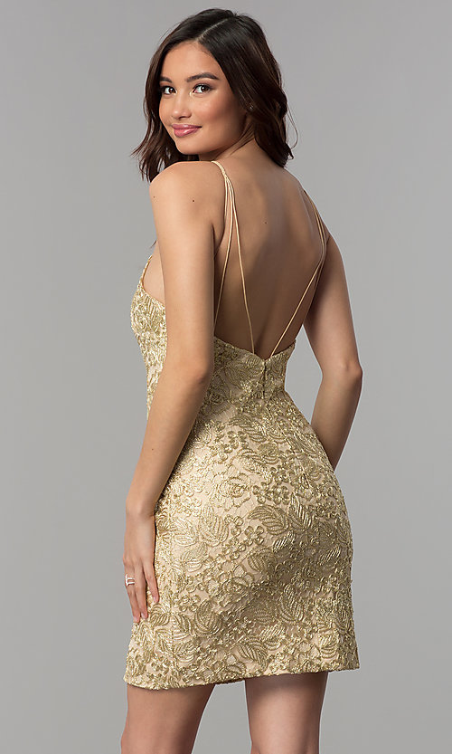 Image of embroidered-lace short metallic homecoming dress. Style: CLA-3675 Back Image