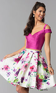 Image of short two-piece floral-print-skirt homecoming dress. Style: DJ-A7034 Front Image