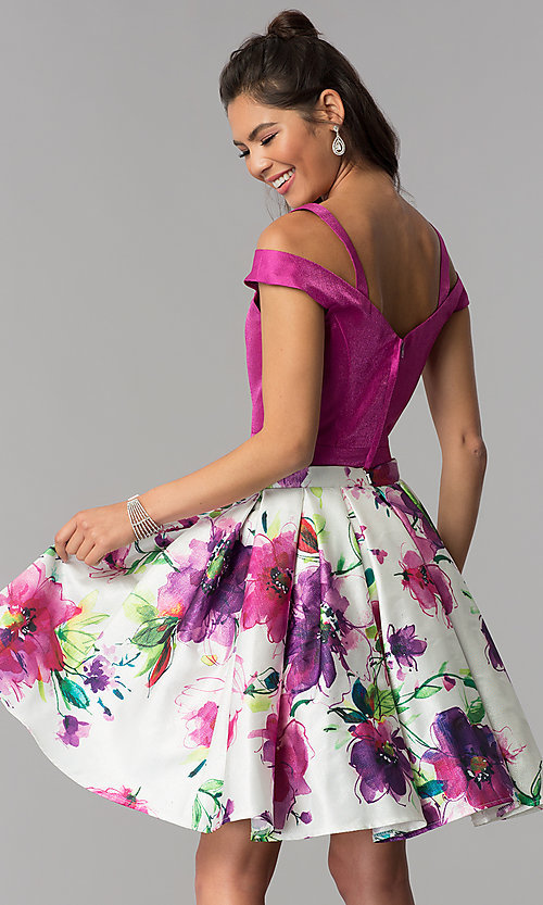 Image of short two-piece floral-print-skirt homecoming dress. Style: DJ-A7034 Back Image
