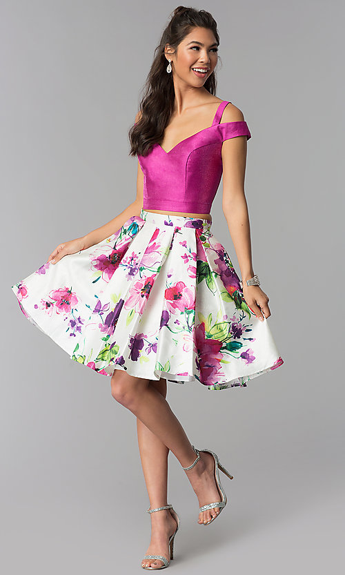 Image of short two-piece floral-print-skirt homecoming dress. Style: DJ-A7034 Detail Image 2
